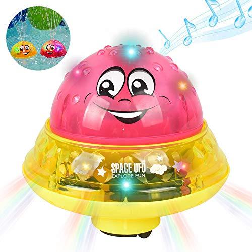 MOGOI Spray Wasser Badespielzeug, elektronische Wasserball Badespielzeug mit Licht für Kleinkinder Jungen Mädchen Pool Badewanne (pink+Base) (Badewanne Spielzeug Ball)