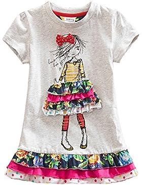 VIKITA Vestidos Manga Corta Flores Mariposa Rayas Algodón Niñas 3-8 año