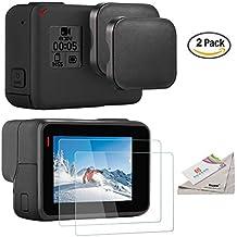 [2pcs] Deyard pantalla ultra claro templado-Protector de cristal y la cubierta del casquillo de lente de la cámara GoPro héroe 5 Acción