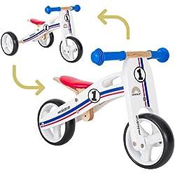 BIKESTAR Vélo Draisienne Enfants et Tricycle en bois pour garcons et filles de 18 mois | Vélo sans pédales MINI (combinaison 2 et 3 roues) évolutive 7 pouces | Tricolore