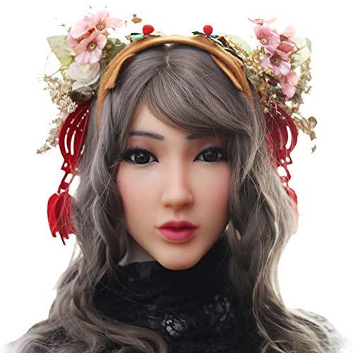 FHSGG Crossdresser Silikon Maske weibliche Kopfbedeckung realistische Göttin Maskerade für Mann Halloween (Halloween Für Masken Realistische)