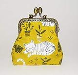 Porte-monnaie rétro femme, bourse vintage, en tissu jaune avec des chats fermoir métallique bronze