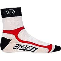 21 Virages casebomb rendimiento máximo verano calcetines Ciclismo, unisex, color Negro - blanco,