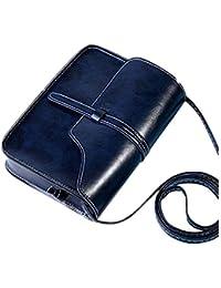 ZARU★Bolso del monedero del vintage bolso del hombro del cuero del faux Bolso cuerpo cruzado(Es cuero artificial) (Azul oscuro)