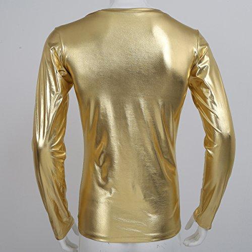 CHICTRY Herren Slim Fit Metallic Glatt T Shirt Tops Unterwäsche Reizwäsche Kunst Leder Unterhemd Clubwear Muskelshirt M L XL Gold