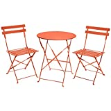 Charles Bentley de 3 piezas de metal plegable Bistro juego de jardín muebles del patio de mesa redonda y 2 sillas - naranja