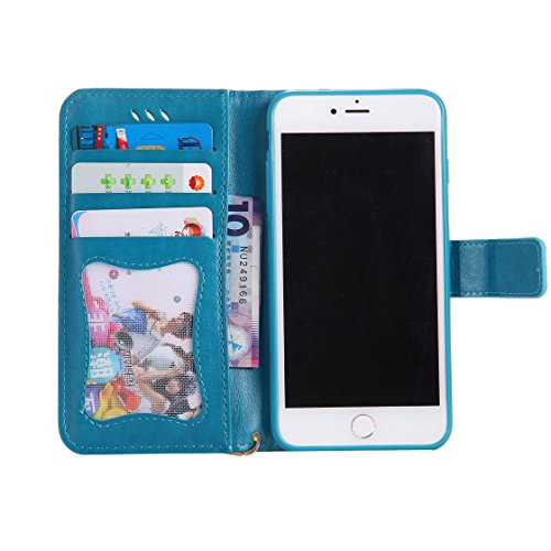 iPhone 7 Plus Custodia Case, iPhone 7 Plus Copertura 5.5, Design PU Leather Flip di cuoio case Portafoglio con slot per schede - albicocca blu 1