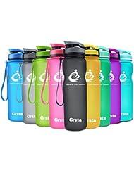 Grsta Sport Trinkflasche 20oz/1L - Wasserflasche Auslaufsicher, Eco Friendly BPA Frei Tritan Kunststoff Flaschen mit Frucht Filter, Sporttrinkflasche für Kinder, Gym, Yoga, Laufen, Camping, Büro