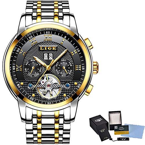 Watch-LUTEM Herren Automatic Mechanical Uhren Luxuriöse Wasserdichte Armbanduhren Uhr mit Edelstahlarmband, Datums- und Kalenderanzeige