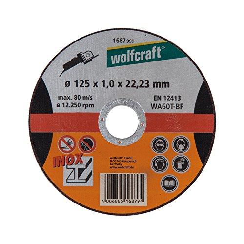 Wolfcraft 1687999 1687999-1 Disco de Cortar para Metal específico para Acero Fino, Granel diam. 125 x 1,0 x 22,23 mm, plata