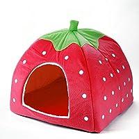 Generic Blue, M : Pet Puppy Cat Dog Beds Indoor House Mat Kennel Nest Cage Strawberry Design Soft Fleece Dog House