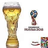 Chope de bière en verre - Coupe du monde de football, Russie 2018 - Bière, whisky, vin, jus, eau, 450ML