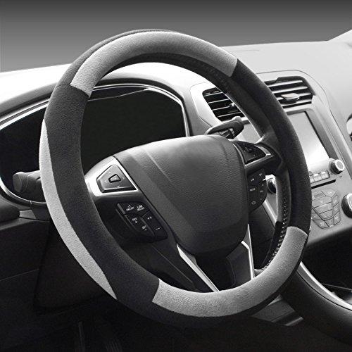 COFIT Plush Grey Steering Wheel Cover Universal Fit 38cm