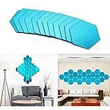 3D Spiegel, abnehmbarer Acryl Sechseck Spiegel Wand, selbstklebend DIY Hintergrund Wände Decor, für Art Fenster HOME Aufkleber Dekoration (20,2cm, Set von 12) blau
