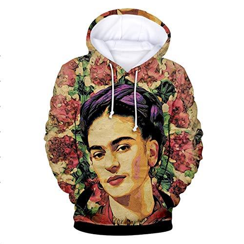 Frida Kahlo Pattern 3D Vintage Hoodies Sudadera Casual Manga Larga con cordón (Color : Pink, Size : M)