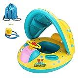 Kinderboot Schwimmenauto Sitz Schwimmhilfen mit Sonnendach Ring anbei Luftpumpe und Rücksack mühelos aufbalsen Geeignet für Kinder von 1-3 Jahre Gewicht unter 20Kg