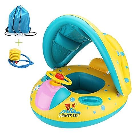 Kinderboot Schwimmenauto/ Schwimmring mit Sitz Schwimmhilfen mit Sonnendach Ring anbei Luftpumpe und Rücksack mühelos aufbalsen Geeignet für Kinder von 6-36 Monate Gewicht unter 20Kg Schwimmboot Baby