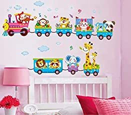 Syga 'Cartoon Animals Train' Wall Sticker (PVC Vinyl, 61 cm x 5 cm x 5 cm)