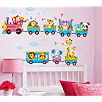 Syga Cartoon animals train wall stickers X_SSYH