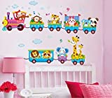 Syga 'Cartoon Animals Train' Wall Sticker (PVC Vinyl, 61 cm x 5 cm x 5 cm)