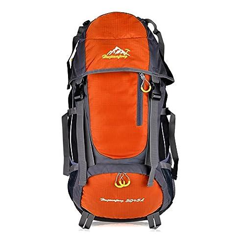 Vbiger Sac à dos pour Sport Randonnée Trekking Camping Grand-volume 55 L (Orange, 55 L)