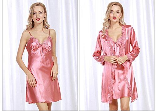 a7f8cc01176902 Cheerlife Damen Seide Negligee Kurz Nachtkleid Nachthemd mit Langarm Spitze  Morgenmantel Nachtwäsche Pink