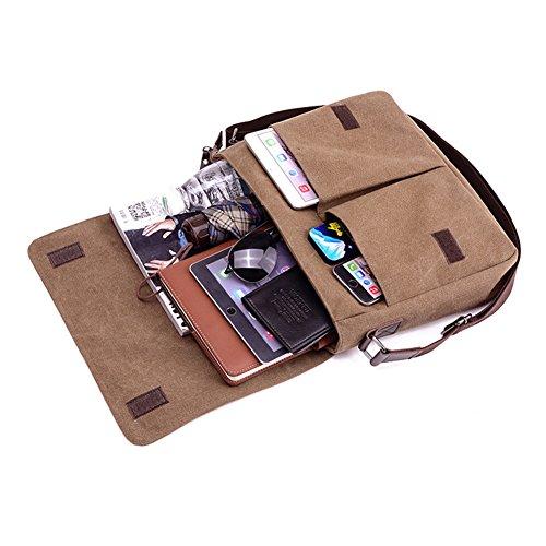 Herren Umhängetasche - Vintage Canvas Schultertasche mit Mehrere Taschen Handtasche Messenger Bag Ideal für Büro Arbeit und Schule Schwarz / Braun Braun