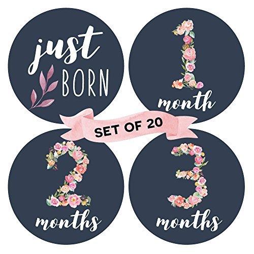 Baby Monatliche Milestone Aufkleber (20Stück)-Geburt bis 12Monate + 7BONUS Achievement Aufkleber -