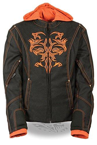 Milwaukee da Donna Moto Equitazione Giacca Tessuto Nero Arancione W Riflettente Tribale Dettaglio Regular