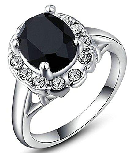 Gnzoe Gioielli, Placcato argento Austriaco Cristallo Nero Diamante Fidanzamento Anello di Nozze Banda Per Donna