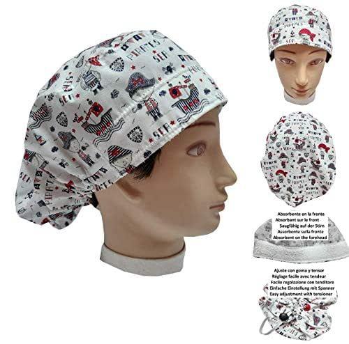 Cappello sala operatoria donna BAMBINI PIRATI per Capelli Lunghi Asciugamano assorbente sulla fronte facilmente regolabile medico Infermiera Chirurgo Dentista Veterinario cucinare