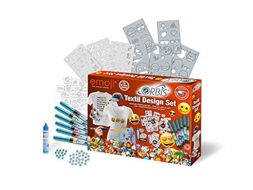 Orbis Airbrush, Orbis Textil Design Set EMOJI 30452, Textilfarbset, zum sprühen auf hellen Textilien, Fixierung durch Bügeln, waschbar bis 30 Grad, mit Textil-Farbpatronen, Schablonen, Schmucksteinen
