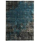 havatex Moderner Teppich Vintage Decor - 3 tolle Farbkombinatinen | strapazierfähig & pflegeleicht | kuschelig weich | Wohnzimmer Schlafzimmer Büro, Größe:160 x 230 cm, Farbe:Anthrazit/Blau