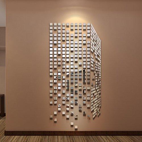 2018NUOVA aggiornamento 290PCS DIY specchi adesivi murali da parete Decorazione Home Decor Salotto, Ufficio, Bar corridoio moderno Art decorazione (argento, X-L)
