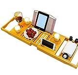 Bandeja de baño superior premium bandeja para bañera de bambú-Accesorios de baño, soporte de copas, libros, tabletas y móvil.