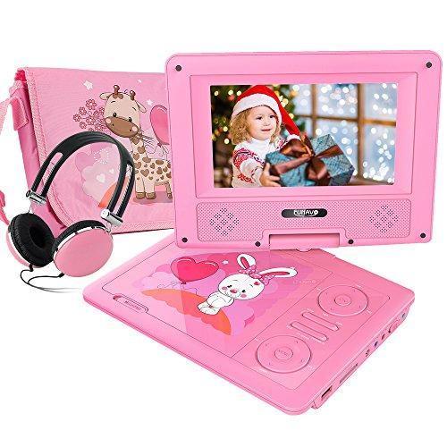 FUNAVO 7'' Tragbarer DVD-Player, Schwenkbaren Bildschirm, 5 Stunden Akku, Unterstützt SD-Karte und USB, mit Kopfhörer, Tragetasche, Auto-Ladegerät (Rosa)