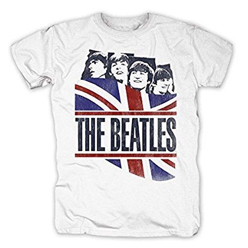 THE BEATLES - GB Bandera - Camiseta Oficial Hombre - Blanco, X-Large