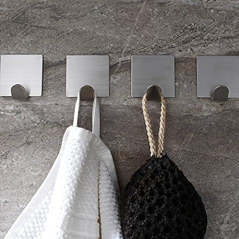 4 Pack Labkiss LK015 Lavatory Bathroom Self Adhesive Coat Robe Towel Hook by 3M Adhesivel,Brushed Stainless Steel,,NO Dril,Heavy Duty,Waterproof,Reusable