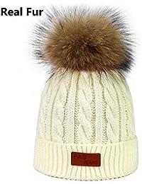 45e9505d8c2 World 2 home Brand Skullies Beanies for Kids Fur Ball Cap Winter Hats  Children Kids Boys Girls Pompom Skullies…