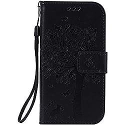 Nancen Compatible avec Samsung Galaxy S4 / GT-i9500 (5 Pouces) Coque de Protection,Anti-Rayures Smart Case. Dix Solide Couleurs [ Chat et Arbre Style Motif]