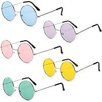 5 Paia di Occhiali da Sole Rotondi Hippy, Occhiali Per Feste Novità Occhiali e Sfumature Per L'accessorio Costumi in…