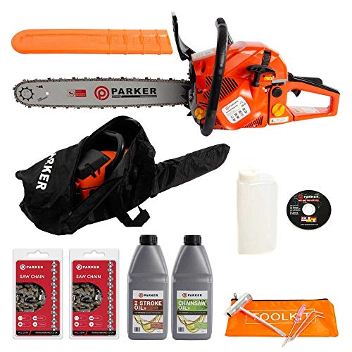 "51EArI5PqYL. SS500  - 58cc 20"" Petrol Chainsaw + 2 x Chains + Oils + More"