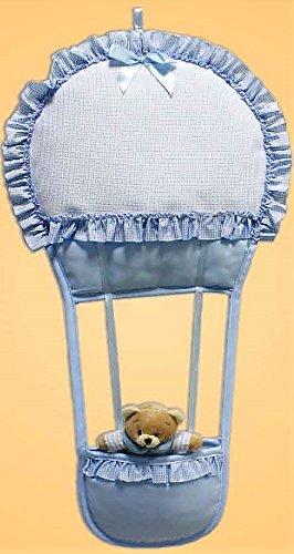 Coccarda nascita mongolfiera con orsetto azzurro