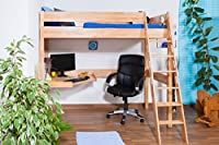 Children's bed / Loft Bunk bed Patrick solid, natural beech wood, comes with desk panel, includes slatted frame - 90 x 200 cm