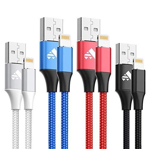 iPhone Ladekabel Aioneus Lightning Kabel [4pack 1m] Schnellladung Phone Kabel Nylon Geflochtenes iPhone Kabel für iPhone XS/XS Max/XR/X/ 8/8 Plus/ 7/7 Plus/6/6s/6Plus/5/5S/SE/iPad und weitere