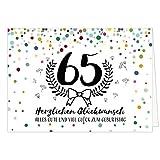 Große Glückwunschkarte zum 65. Geburtstag XXL (A4) Modern/mit Umschlag/Edle Design Klappkarte/Glückwunsch/Happy Birthday Geburtstagskarte/Extra Groß/Edle Maxi Gruß-Karte