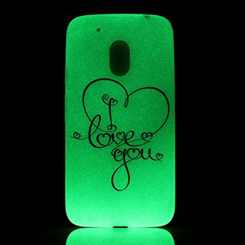 CaseHome Motorola Moto G4 Luminous Hülle (Mit Frie Displayschutzfolie) Leuchtende Silikone Rückhülle Für iPhone 6 6s Plus 5.5 Zoll Zoll Silikon Etui Handy Hülle Weiche Transparente Luminous TPU Back C Ich liebe dich