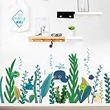 Yzybz Unterwasser Wale Fisch Algen Wandtattoos Schlafzimmer Kinderzimmer Wohnkultur Cartoon Tier Wandaufkleber Diy Poster Pvc-Tapete