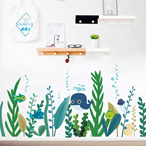 Yzybz Unterwasser Wale Fisch Algen Wandtattoos Schlafzimmer Kinderzimmer Wohnkultur Cartoon Tier Wandaufkleber Diy Poster - Halloween Fenster Festhalten