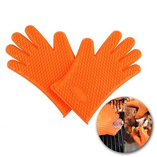 candora ™ Max Silikon BBQ Handschuhe mit Grip–hitzebeständig Kochen und Grill Handschuhe–Schützen Sie IHRE Hände und vermeiden Unfälle–Isolierte Wasserdicht five-fingered Griff